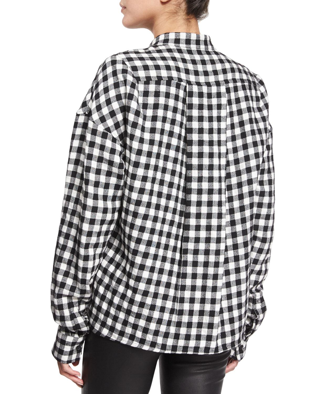 Lyst haider ackermann buffalo check flannel top in black for Buffalo check flannel shirt jacket