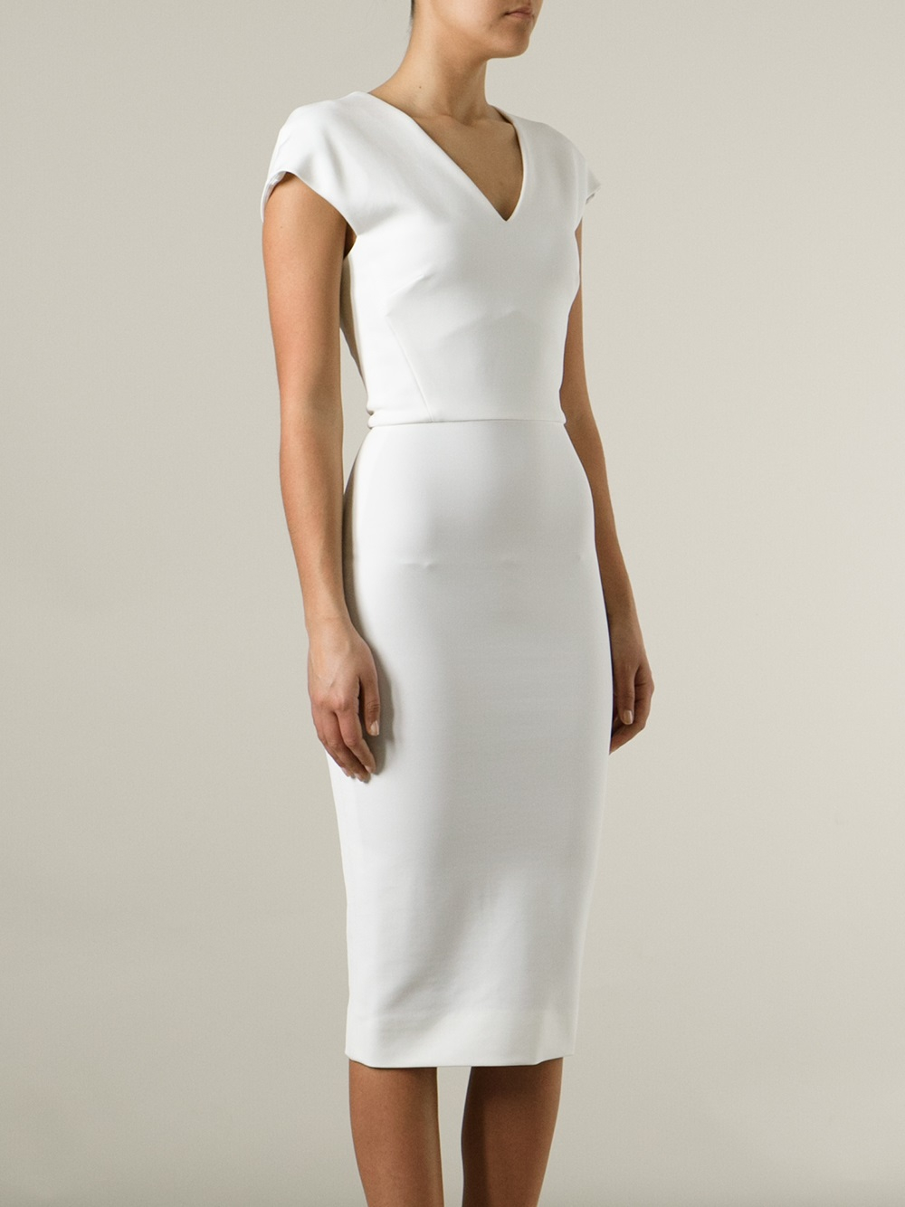 Victoria beckham Fitted Pencil Dress in White | Lyst