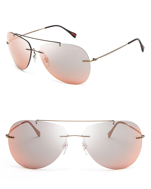 aa8355bff48 ... uk lyst prada mirrored aviator sunglasses in brown for men 05386 176ae
