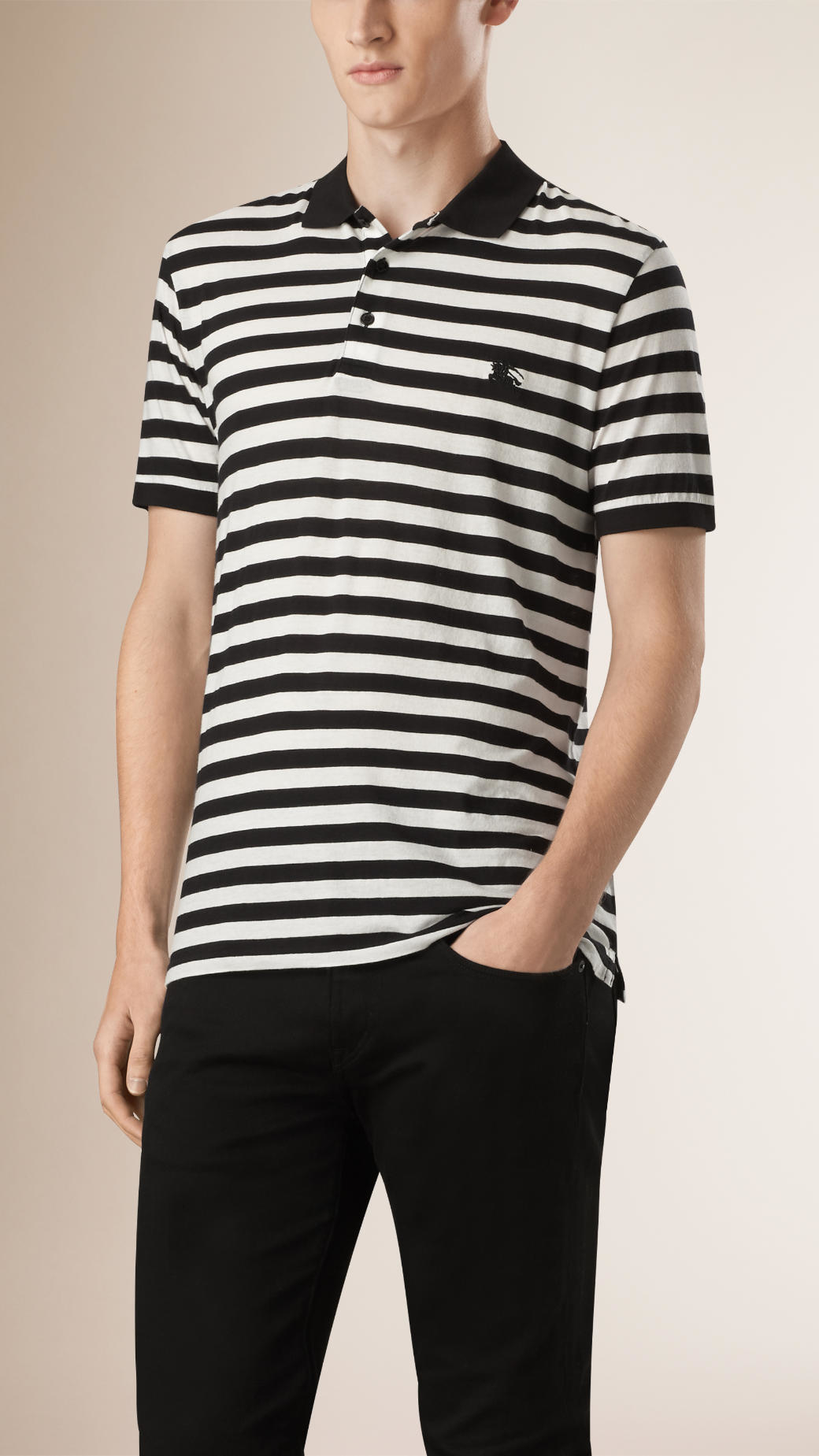 Burberry striped cotton polo shirt in black for men black for Black cotton polo shirt