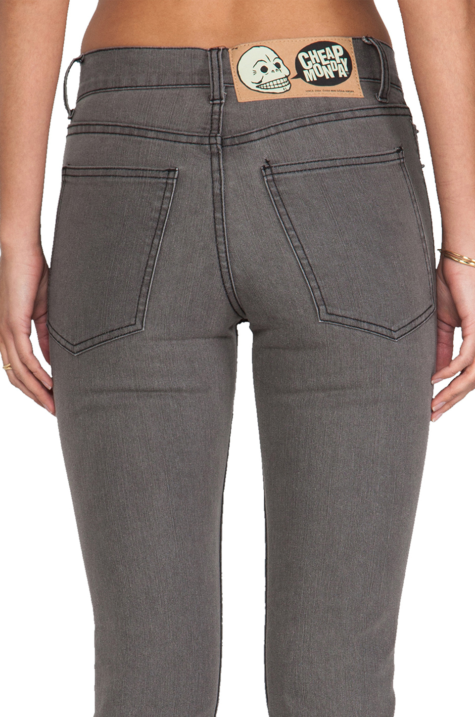 lyst cheap monday tight jeans in gray. Black Bedroom Furniture Sets. Home Design Ideas