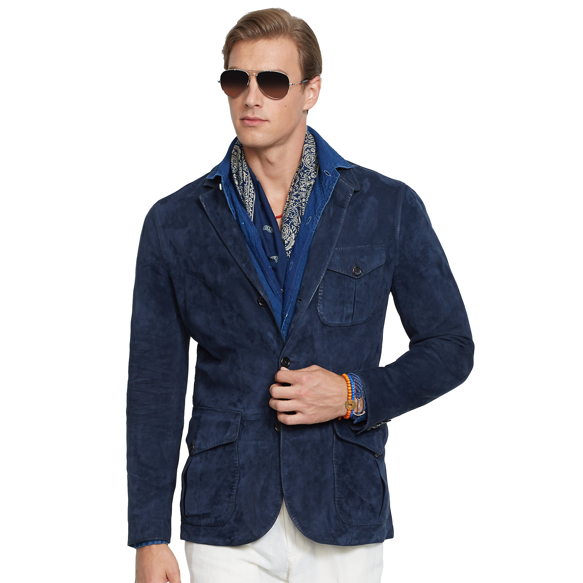 Polo ralph lauren suede utility sport coat in blue for men for Polo shirt with sport coat