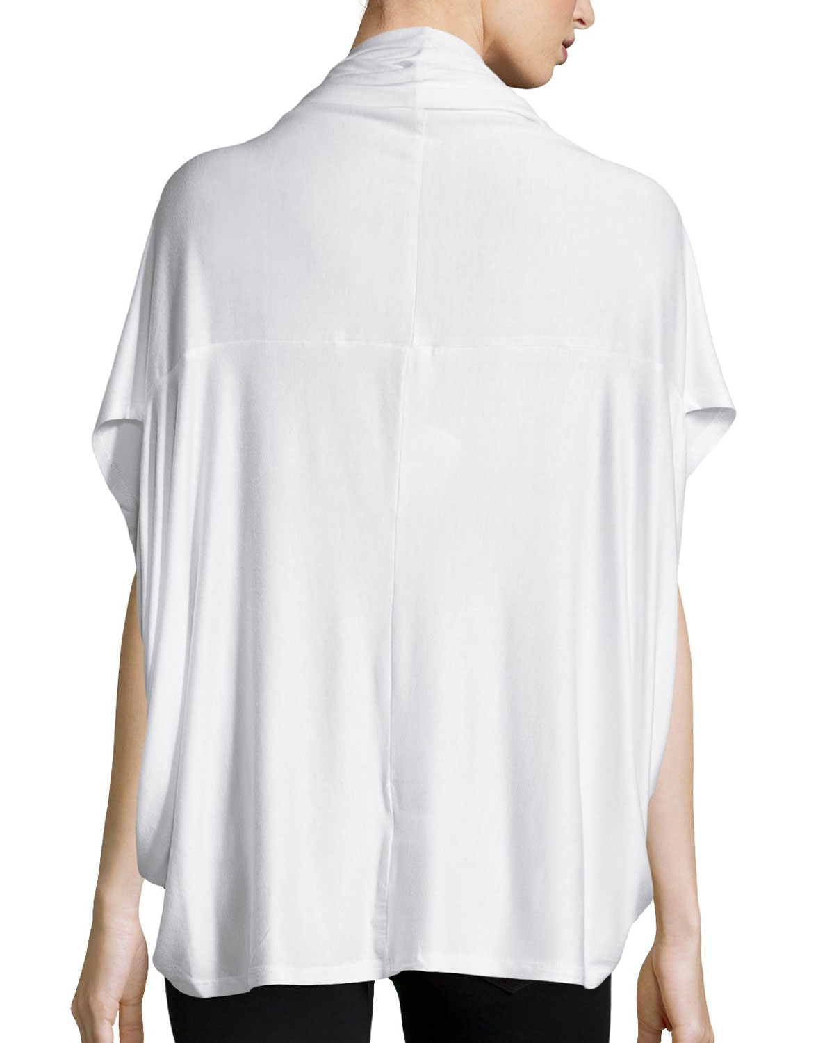 Neiman marcus Short-sleeve Cocoon Cardigan in White | Lyst