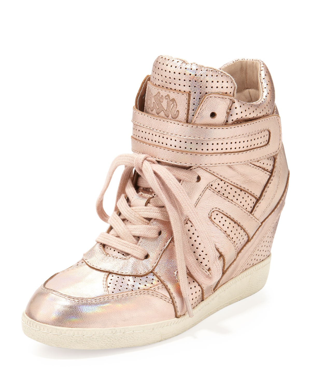 Lyst Ash Beck Metallic Wedge Sneaker Rose Gold In Metallic