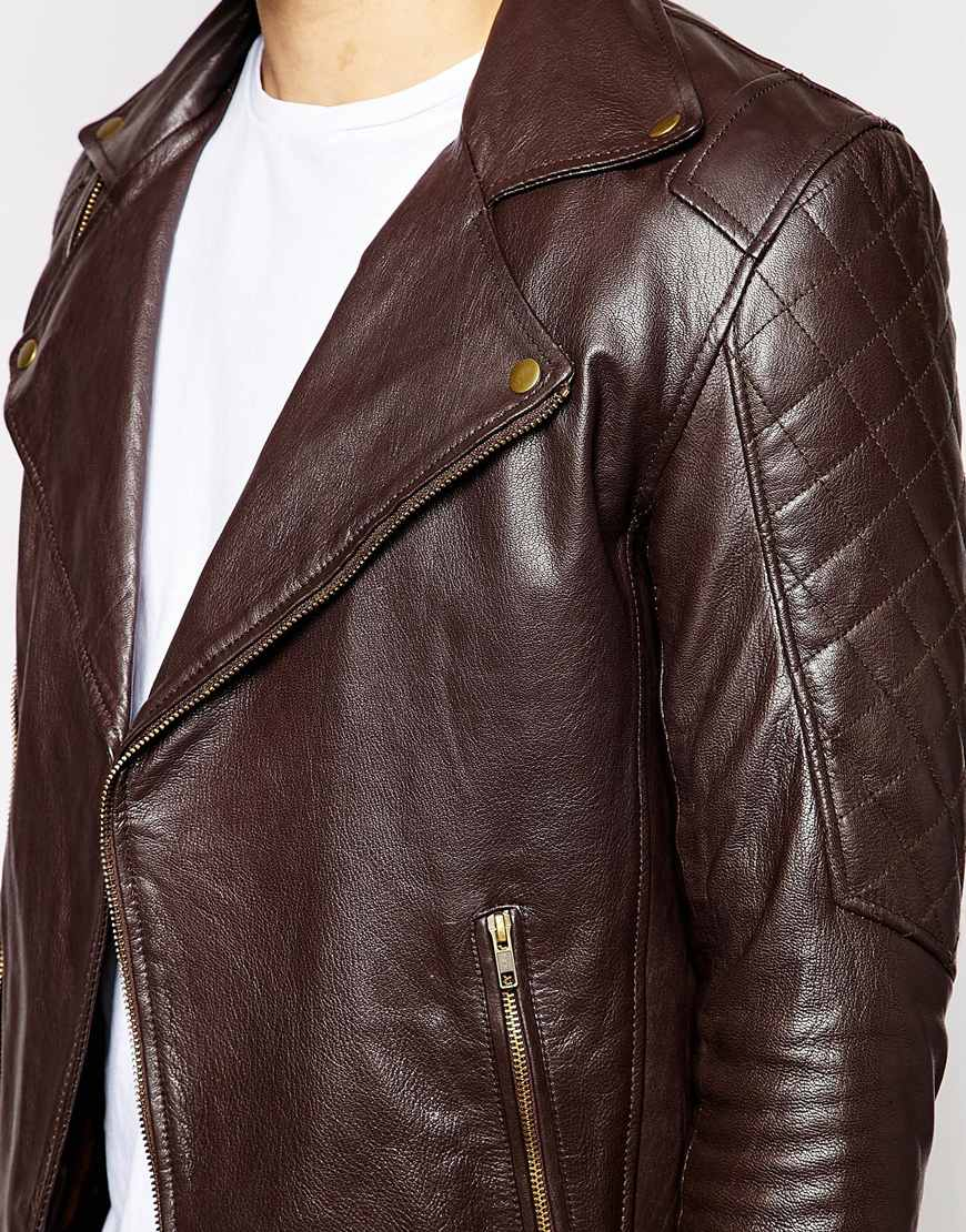 Lyst Asos Leather Biker Jacket In Brown For Men