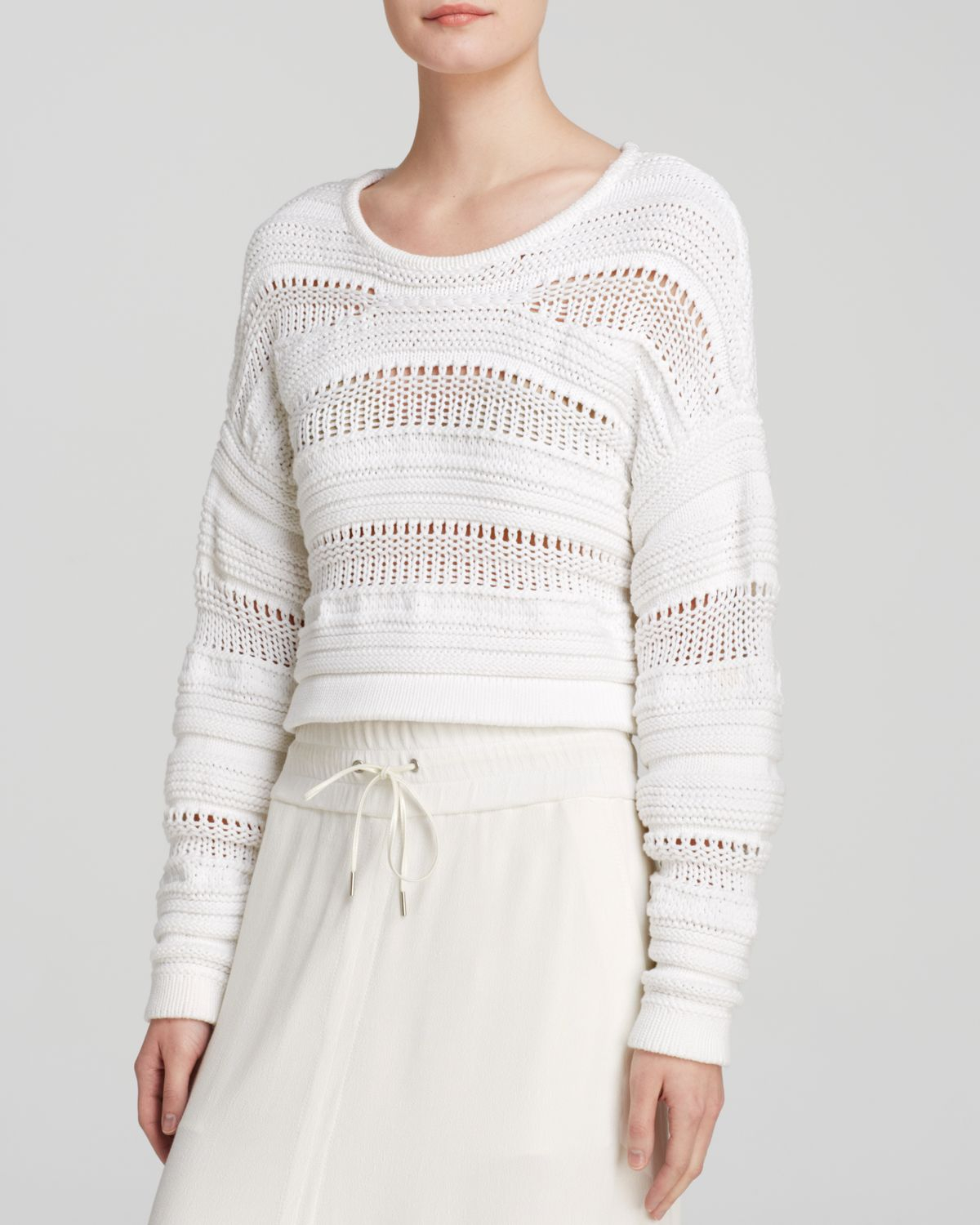 b45bf664c509ec Lyst - Helmut Lang Sweater - Open Knit Pullover in White