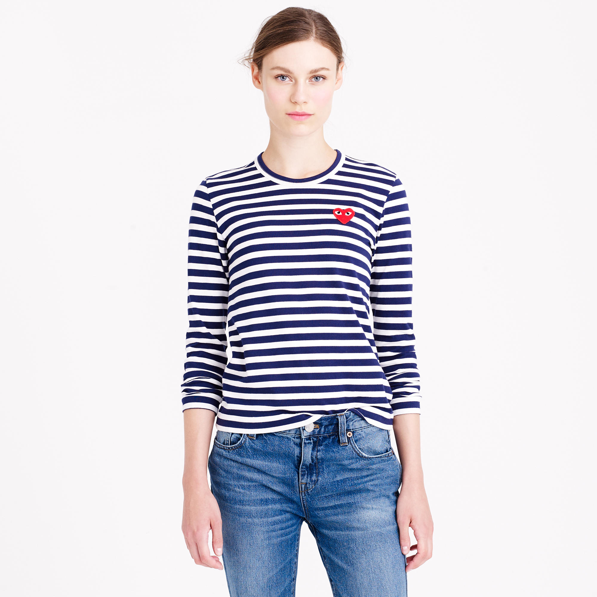 Play Comme Des Gar Ons Stripe Heart T Shirt In Blue