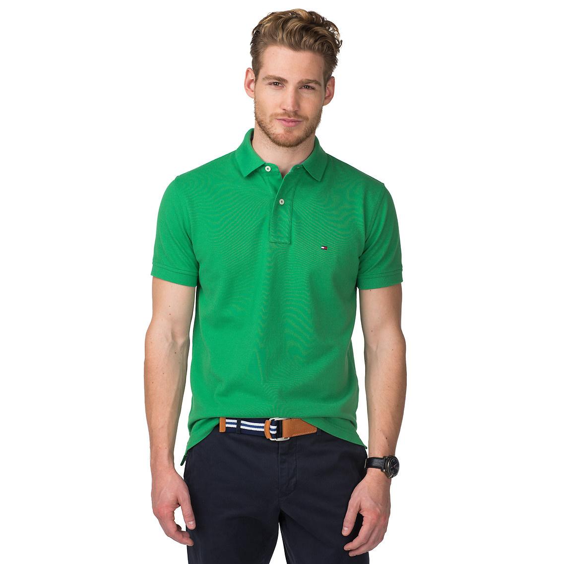 tommy hilfiger tommy regular fit polo in green for men. Black Bedroom Furniture Sets. Home Design Ideas