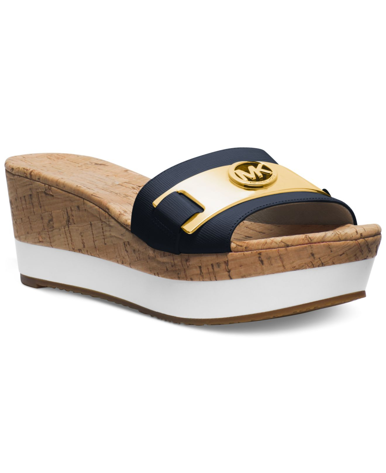 0346627f017 Lyst - Michael Kors Michael Warren Platform Wedge Sandals in Blue