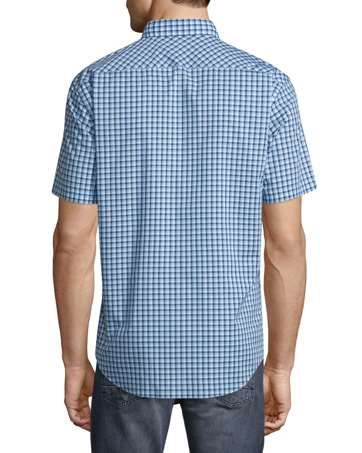 Zachary Prell Plaid Short Sleeve Woven Shirt In Blue For