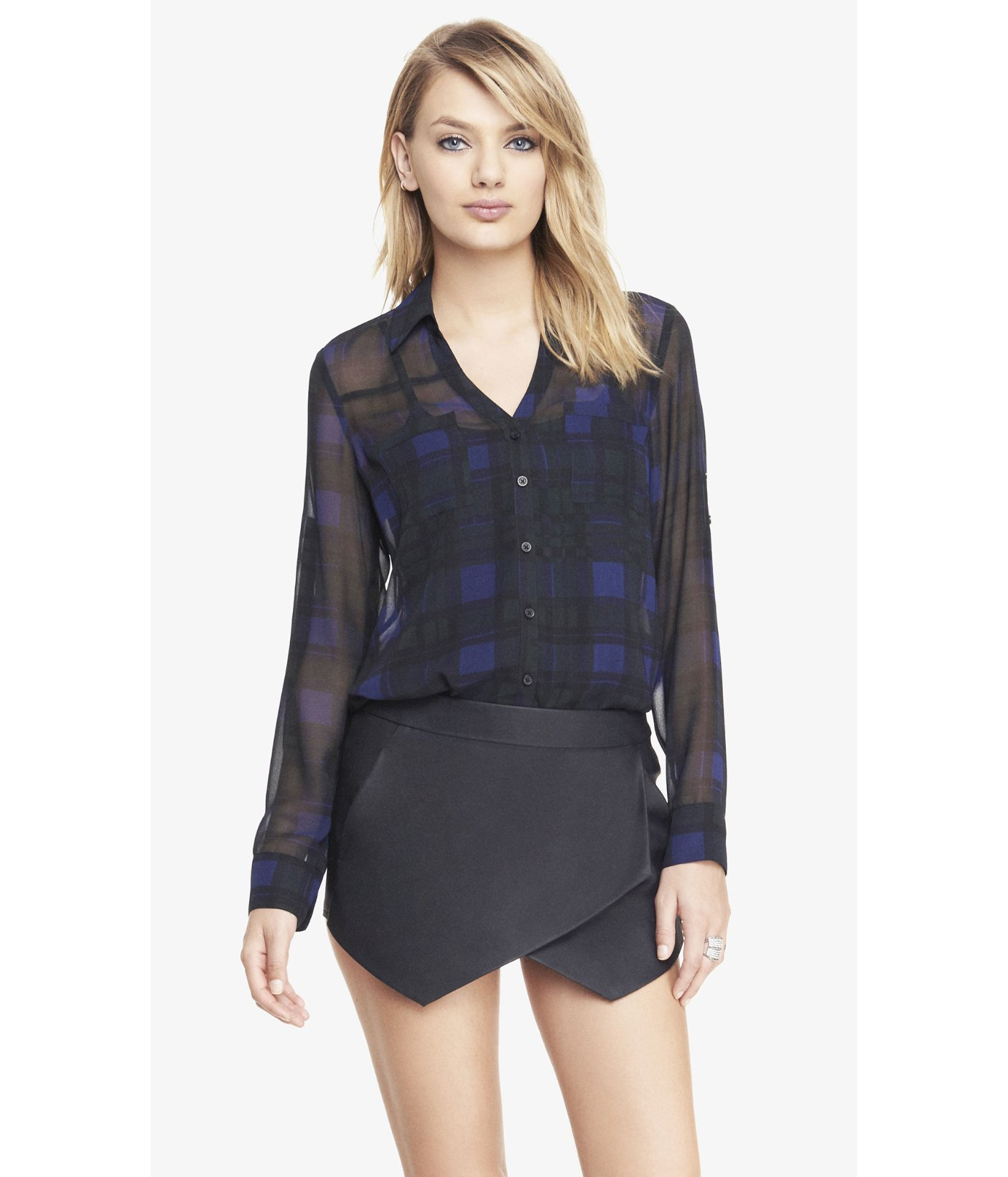 3ff6fc4143be0 Lyst - Express Oversized Plaid Convertible Sleeve Portofino Shirt in ...