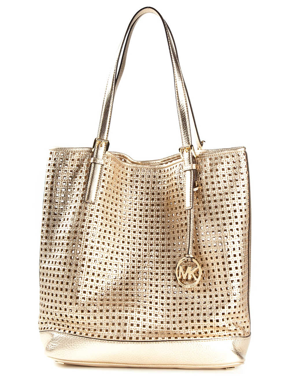 michael michael kors perforated shopper tote in gold. Black Bedroom Furniture Sets. Home Design Ideas