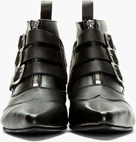 Underground Black Leather Blitz Winklepicker Ankle Boots