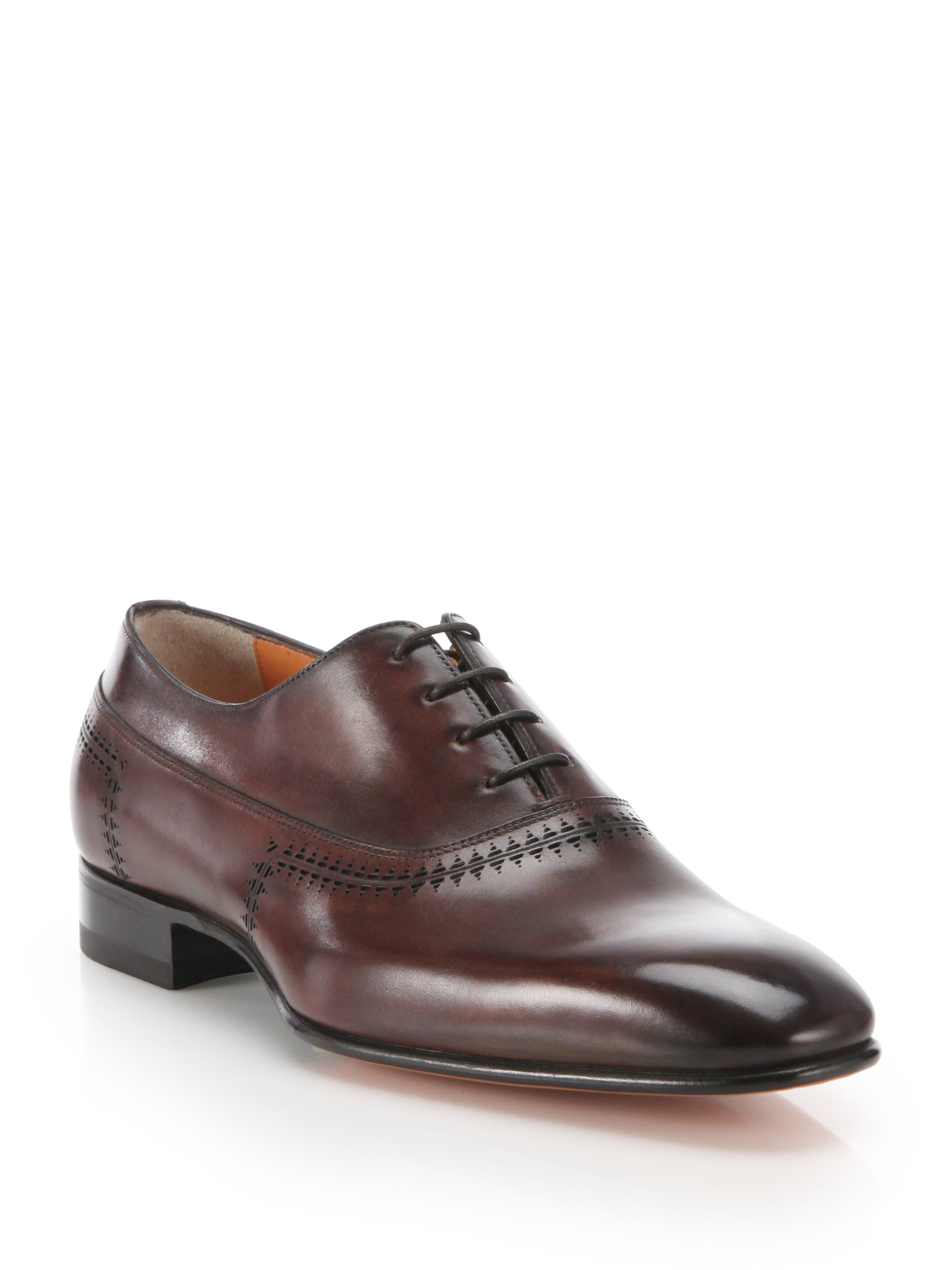 santoni antiqued leather lace up dress shoes in brown