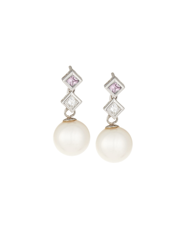 belpearl 18k pink sapphire amp diamond pearl drop earrings