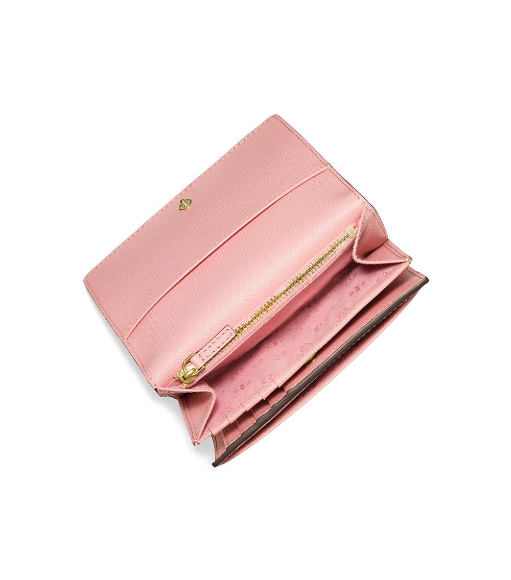 49240bbfb9d5 ... inexpensive lyst tory burch robinson medium flap wallet in pink b6207  c7b9f