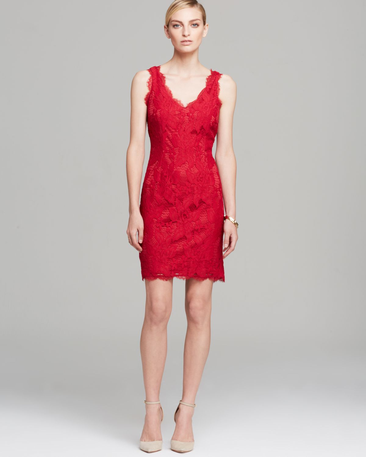 Lyst adrianna papell dress sleeveless v neck lace overlay sheath gallery ombrellifo Image collections