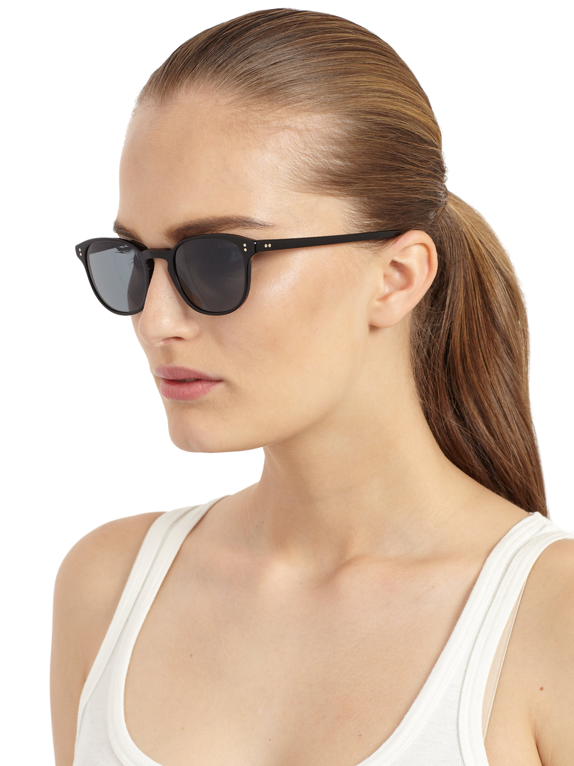 Keyhole Sunglasses  oliver peoples fairmont vintage keyhole sunglasses in black for