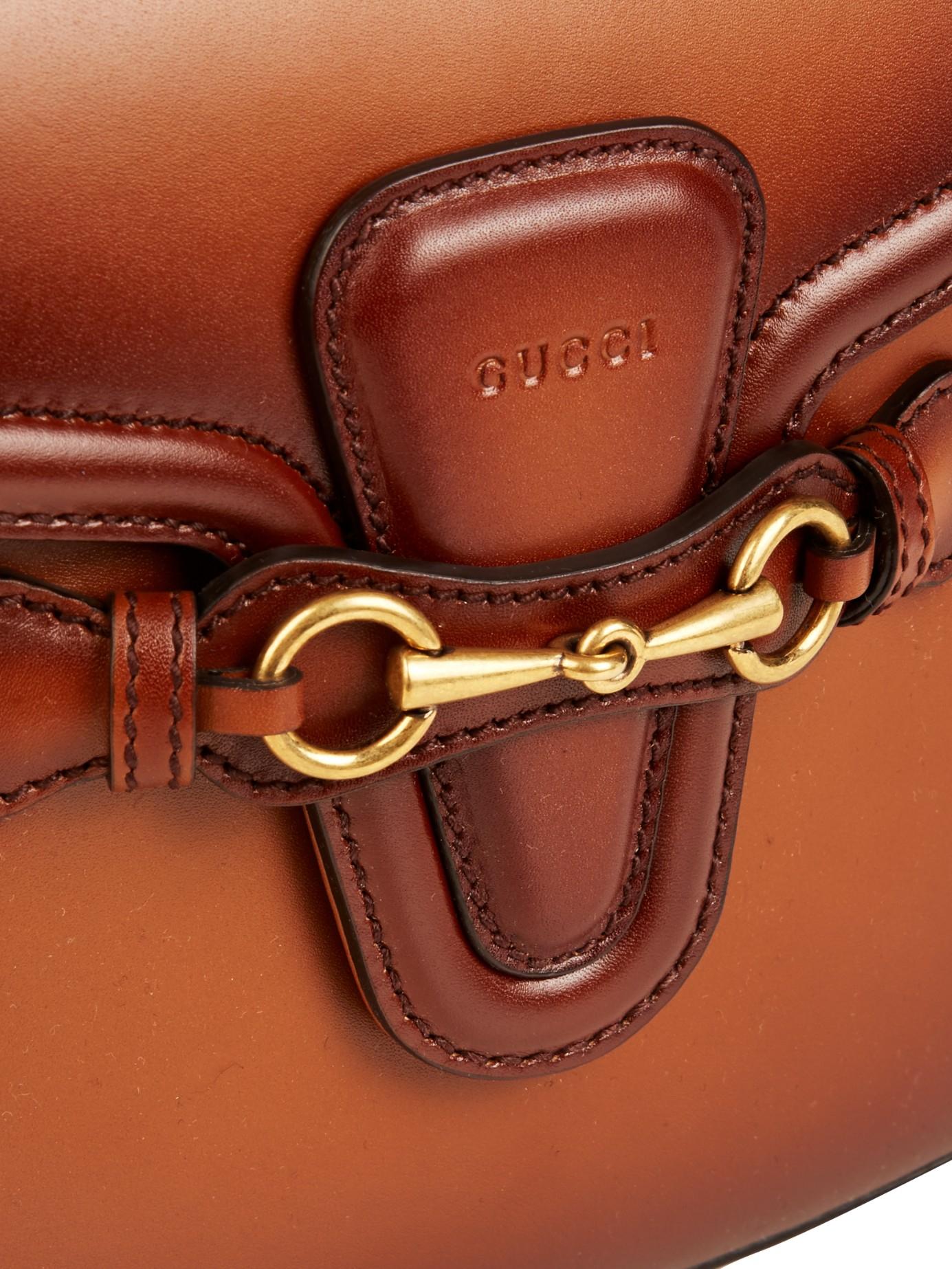 5870cf26cdbe30 Gucci Lady Web Medium Leather Shoulder Bag in Brown - Lyst