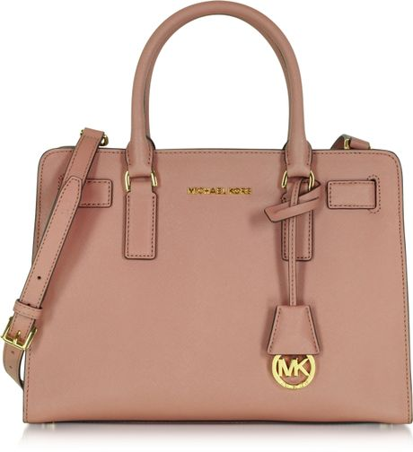 michael kors dillon dusty rose saffiano leather e w satchel in brown rose. Black Bedroom Furniture Sets. Home Design Ideas
