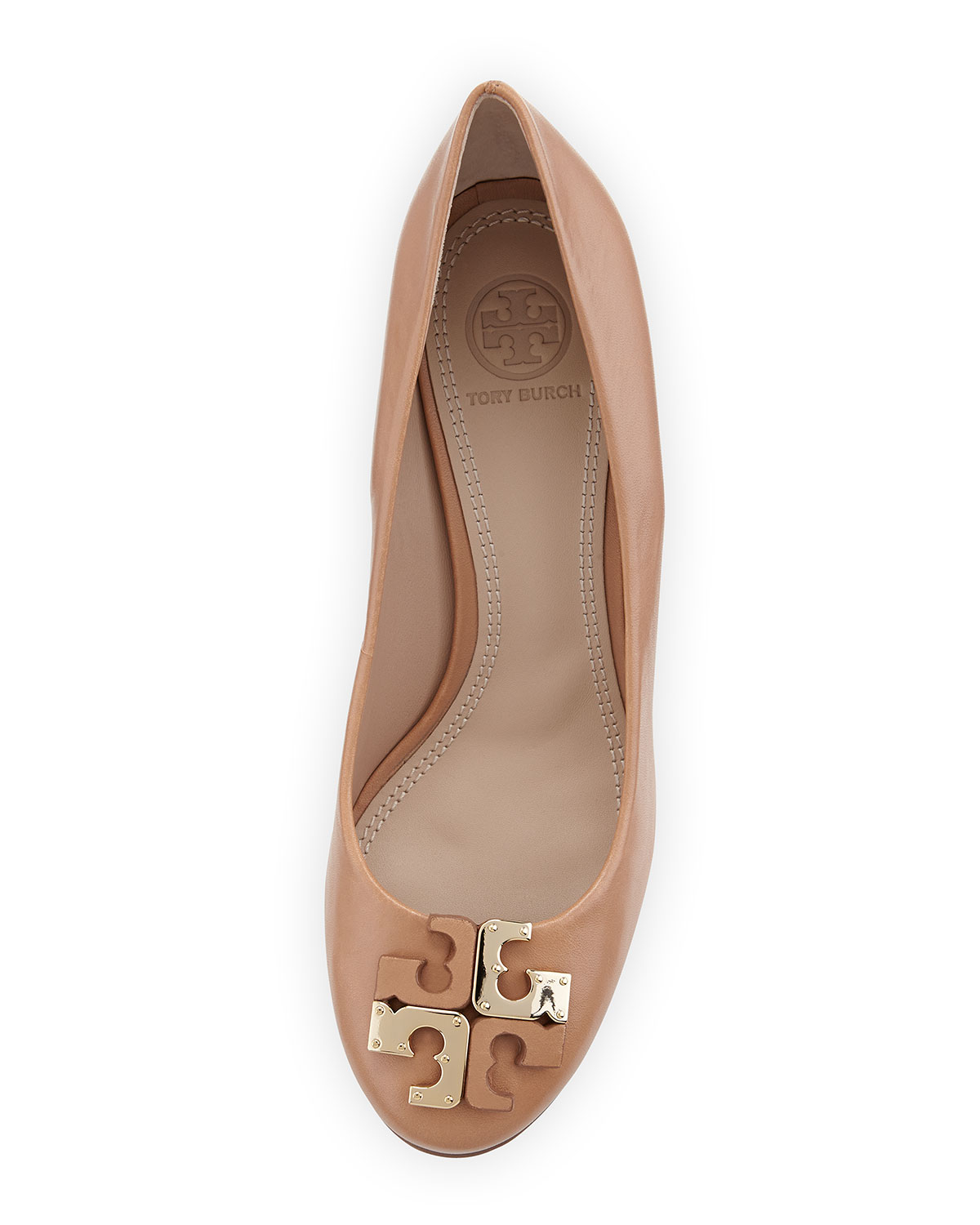 e3a90cbaafdc37 Lyst - Tory Burch Lowell New Logo Wedge Pump in Brown