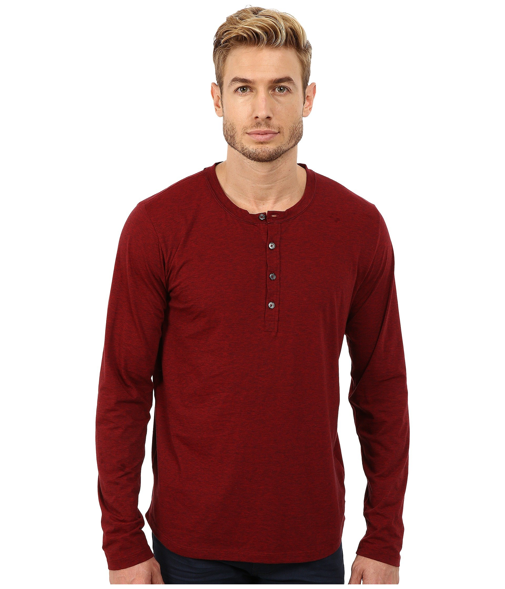7 for all mankind long sleeve henley in red for men lyst for Long sleeve henley shirts for men