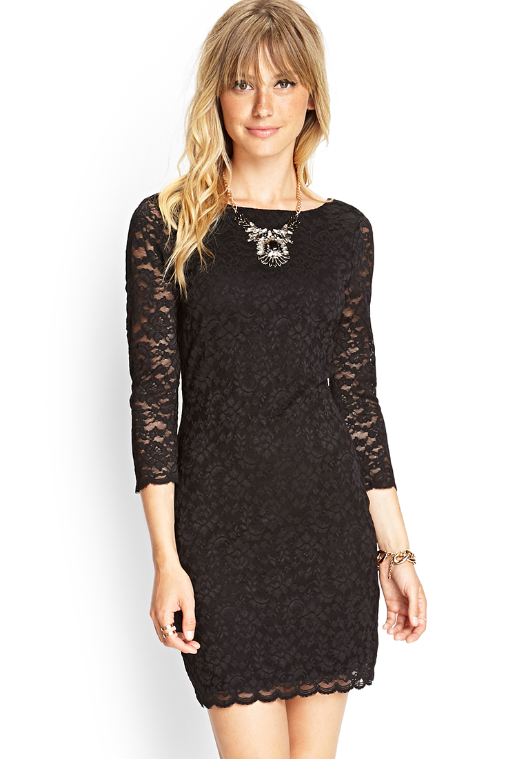 Forever 21 Zippered Lace Sheath Dress in Black | Lyst
