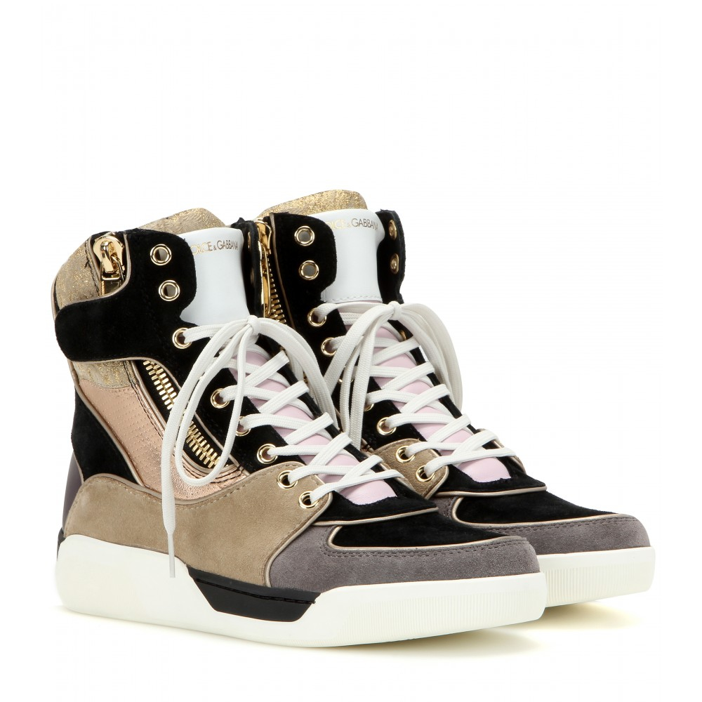 Dolce amp gabbana high top sneakers in purple lyst
