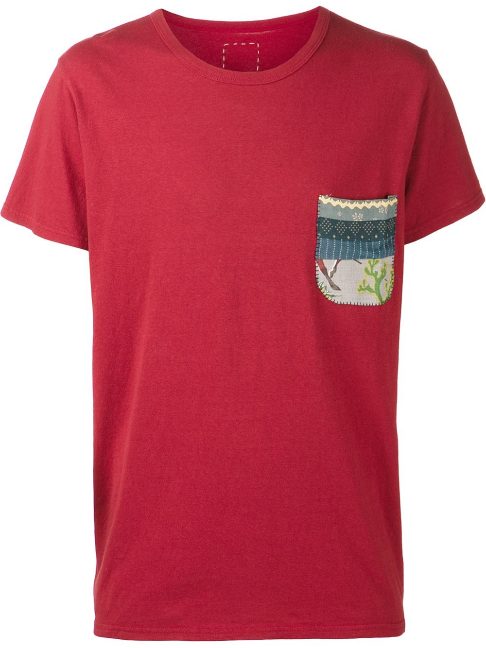 Lyst visvim print pocket t shirt in red for men for Pocket t shirt printing