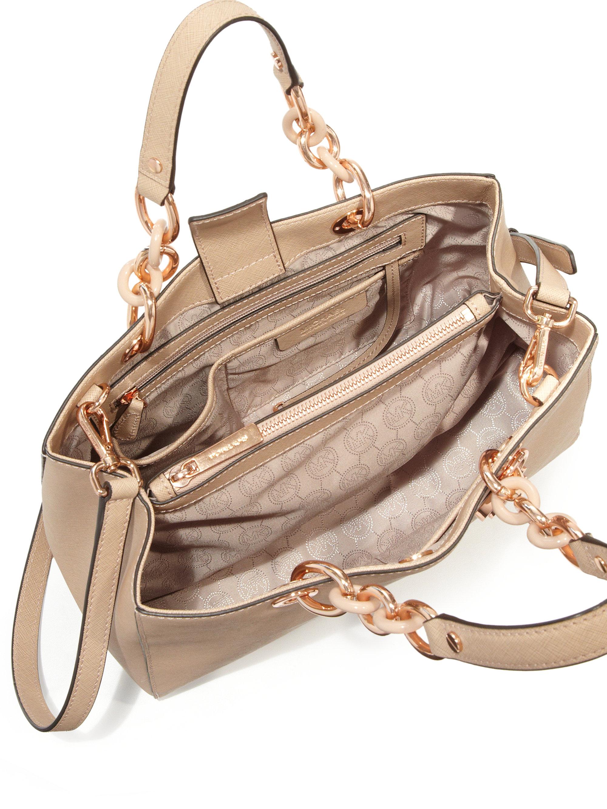 cf961786ab8c ... new zealand lyst michael michael kors cynthia medium saffiano leather  satchel ba28a 3fd1c