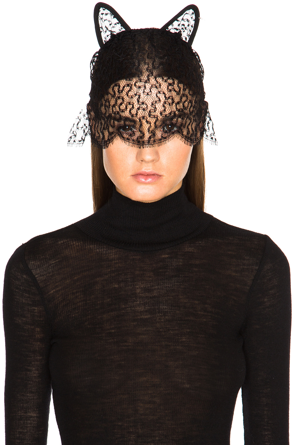 Maison Michel Lace Cat Ears with Veil in Black rAyVr