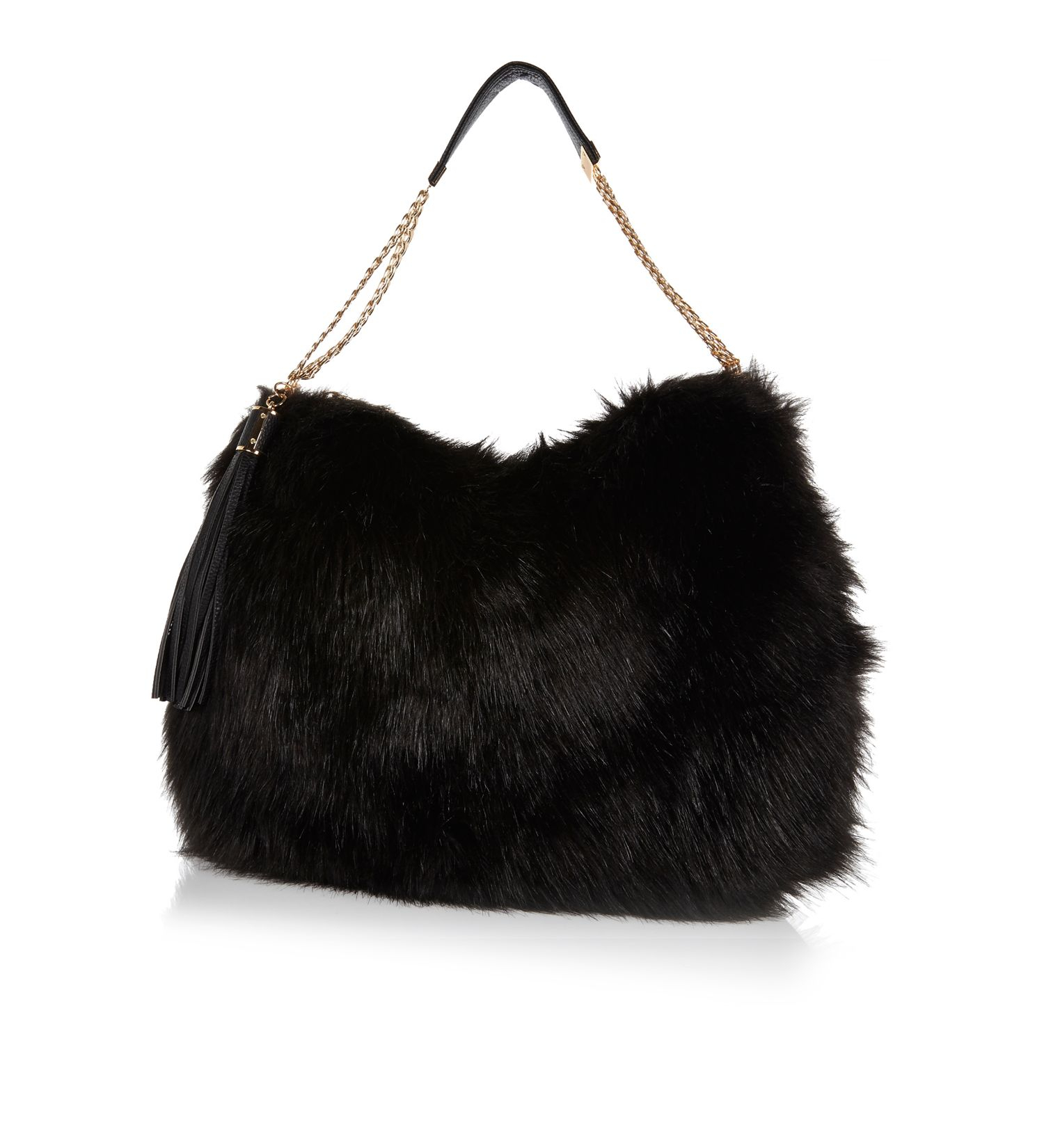 River Island Black Faux Fur Slouch Bag In Black Lyst