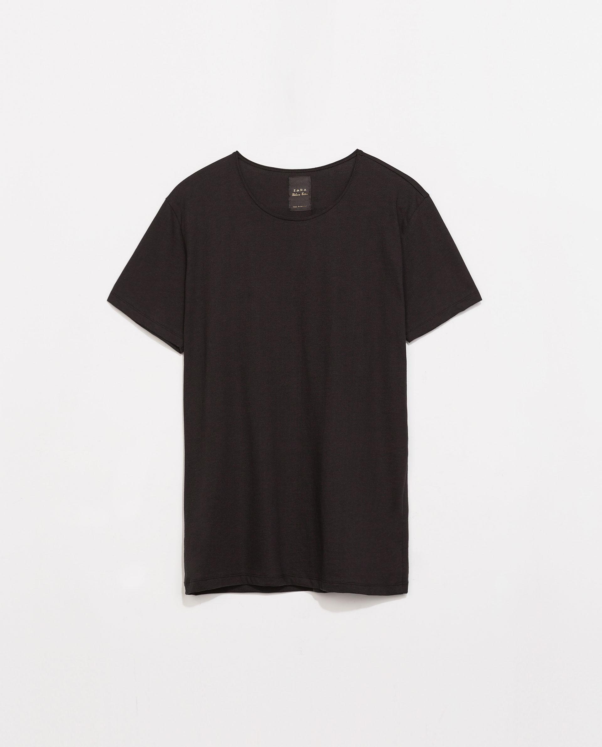 Zara Luxury Cotton Tshirt in Black for Men | Lyst
