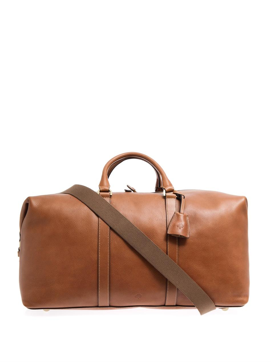 fa4346a6e92 ... where to buy lyst mulberry leather clipper weekend bag in brown for men  6cfa7 5ab78