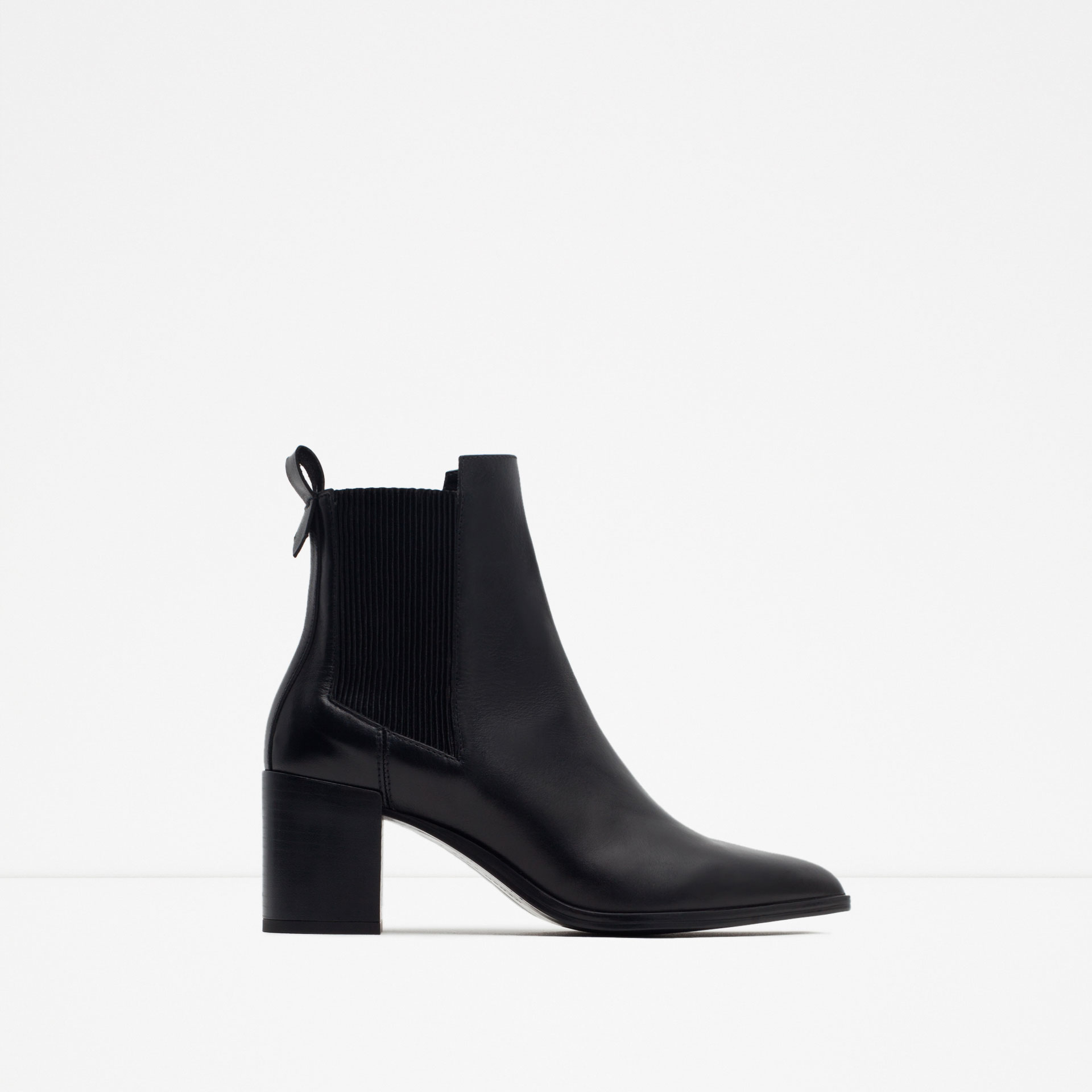 zara block heel leather ankle boots with stretch detail in
