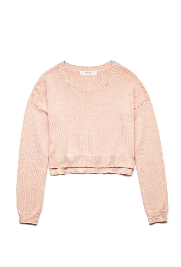 cc9124a335 Lyst - Forever 21 Lazy Day Cropped Sweater in Pink