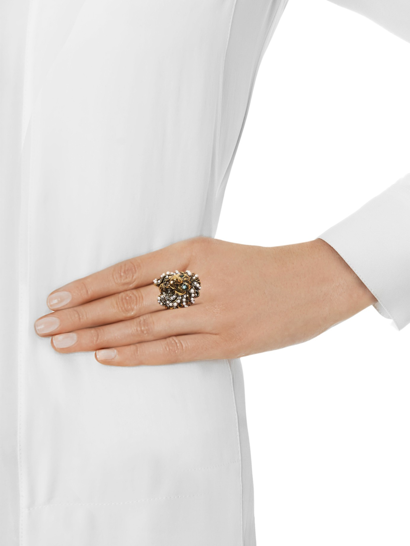 f4d505a69 Gucci Crystal And Pearl-Embellished Lion Ring in Green - Lyst