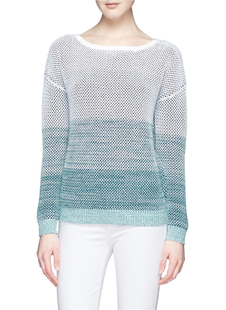 Vince Ombré Cotton Sweater in Blue   Lyst