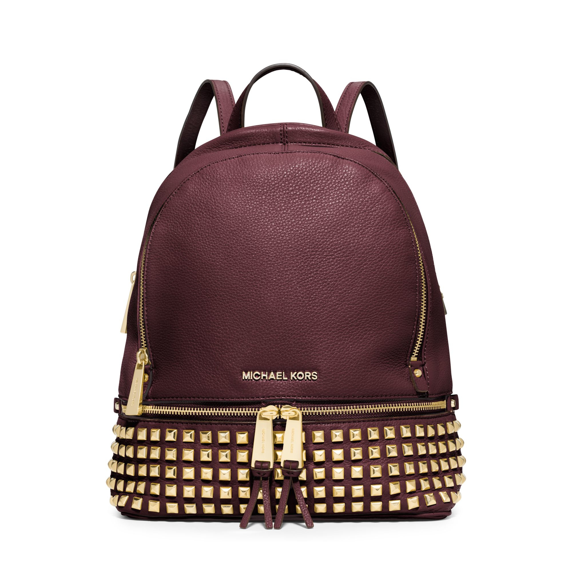 michael kors rhea small studded leather backpack in purple. Black Bedroom Furniture Sets. Home Design Ideas