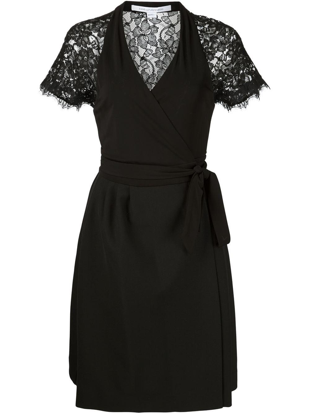 Lyst diane von furstenberg 39 elizabeth 39 wrap dress in black for Diane von furstenberg clothing