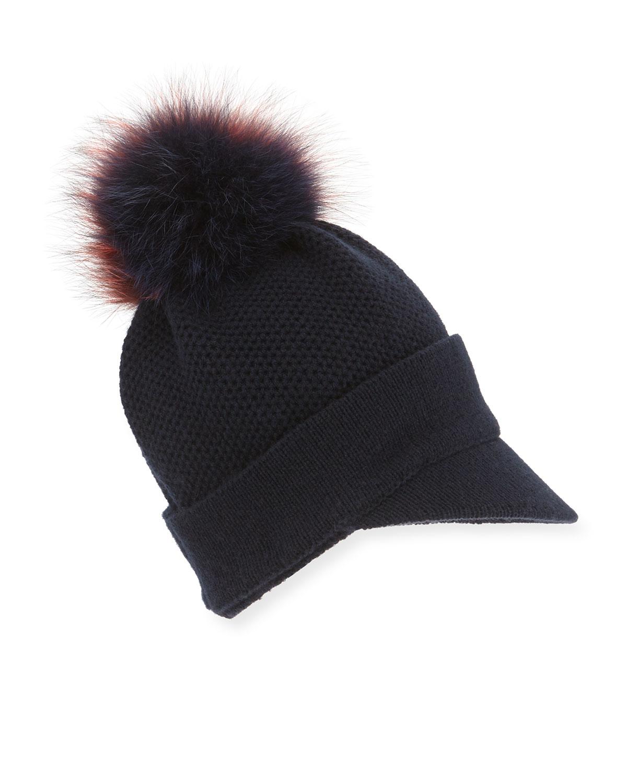 68a9a8c82be525 Inverni Knit Beanie Hat W/fur Pom-pom in Blue - Lyst