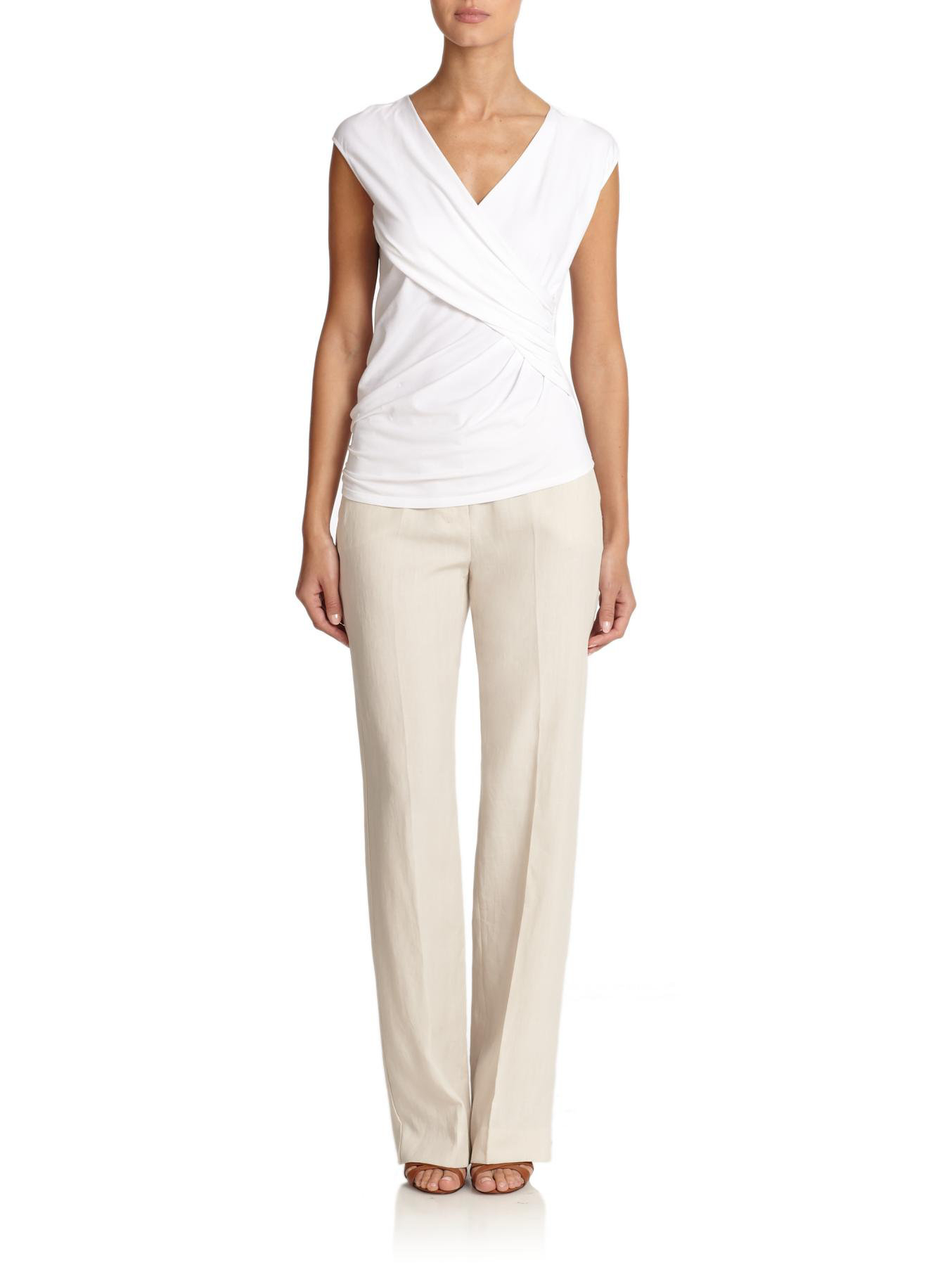 White Linen Wide Leg Pants For Women