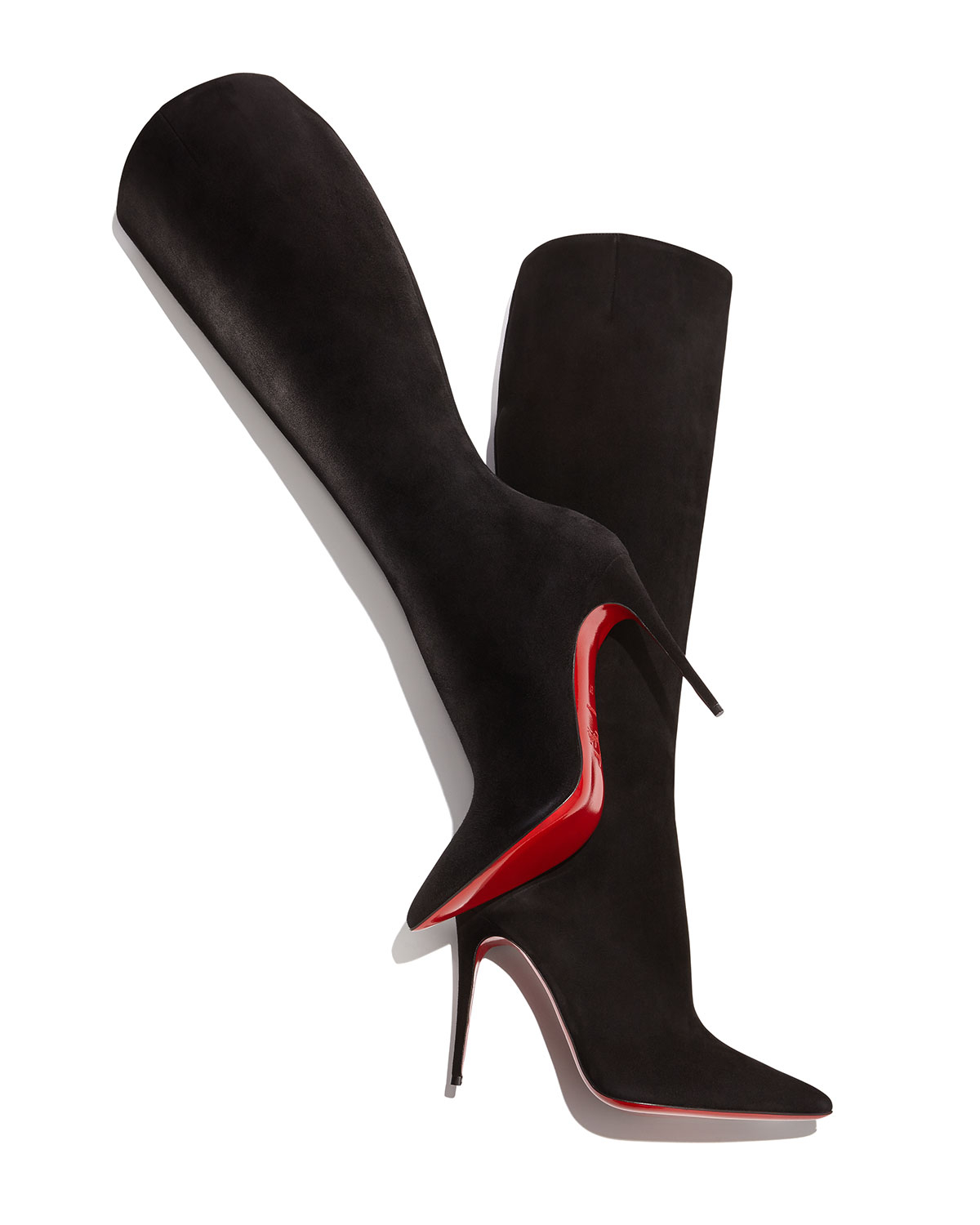 Artesur ? christian louboutin pointed-toe boots Black suede