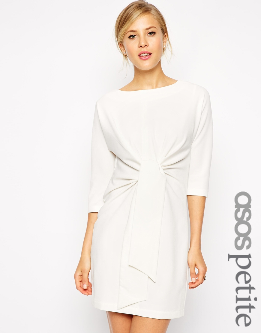 Lyst Asos Shift Dress With Tie Waist In White