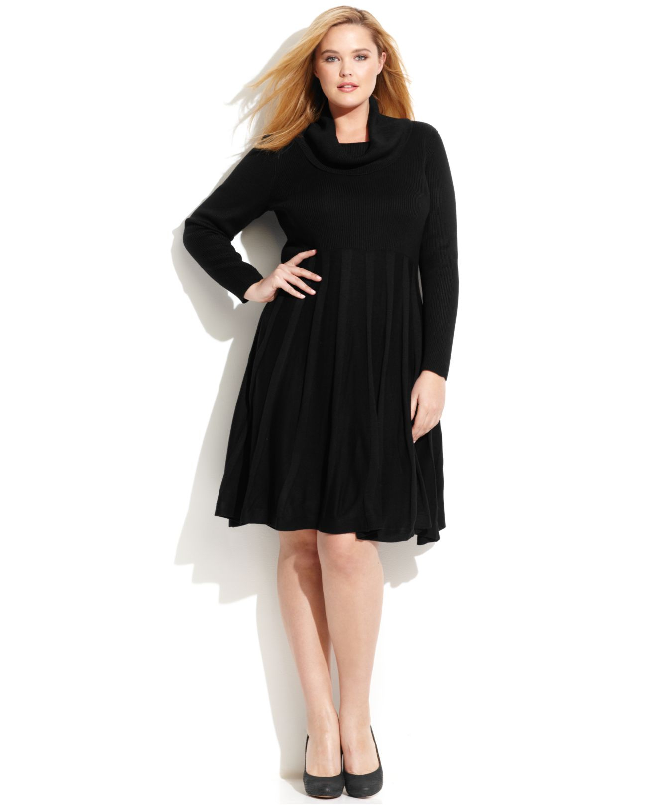 Lyst Calvin Klein Plus Size Cowl Neck Sweater Dress In Black