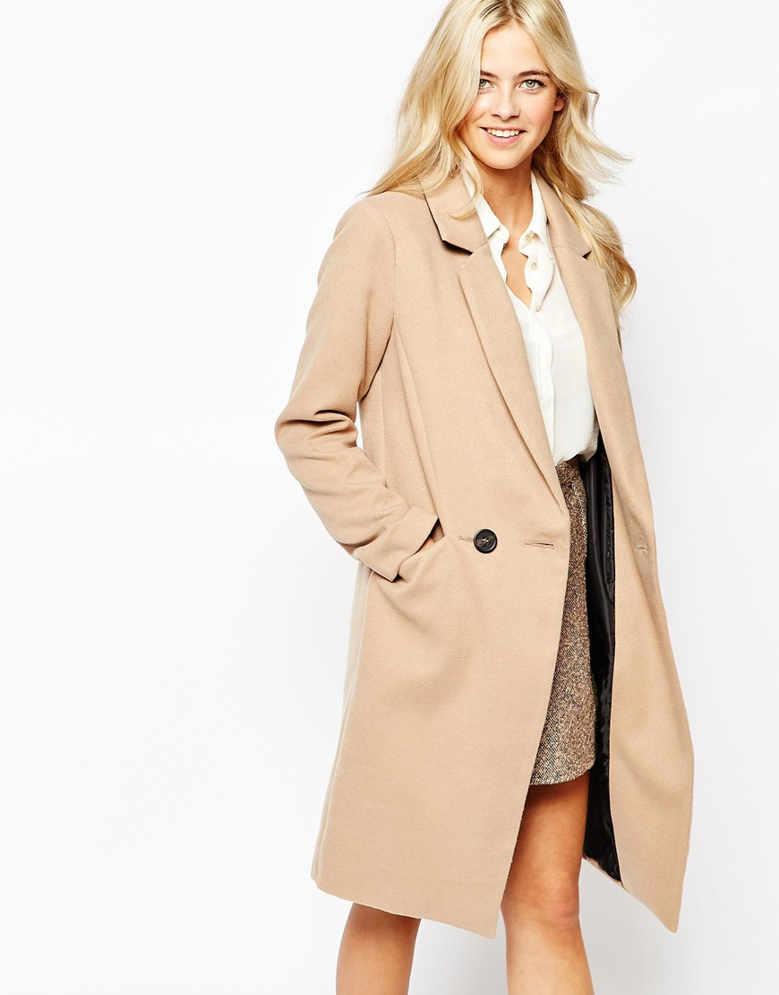 Oasis Double Breasted Car Coat in Natural | Lyst