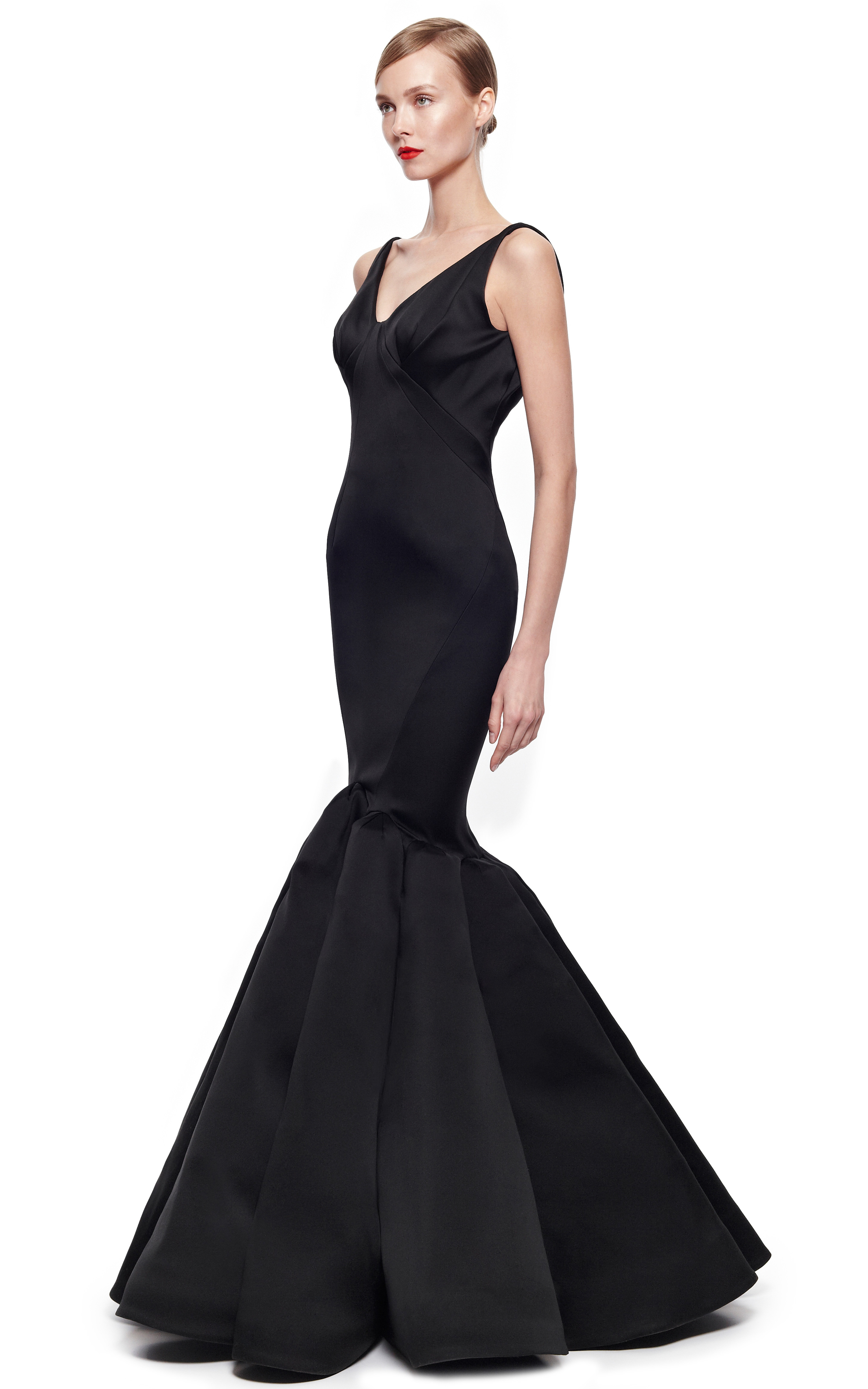 Zac Posen Stretch Duchess Gown In Black Lyst