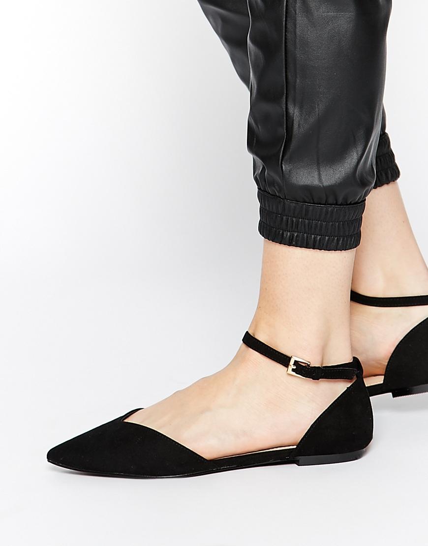 Lyst - Carvela Kurt Geiger Marcus Ankle Strap Point Flat Shoes in Black 6cfa72fa24fd