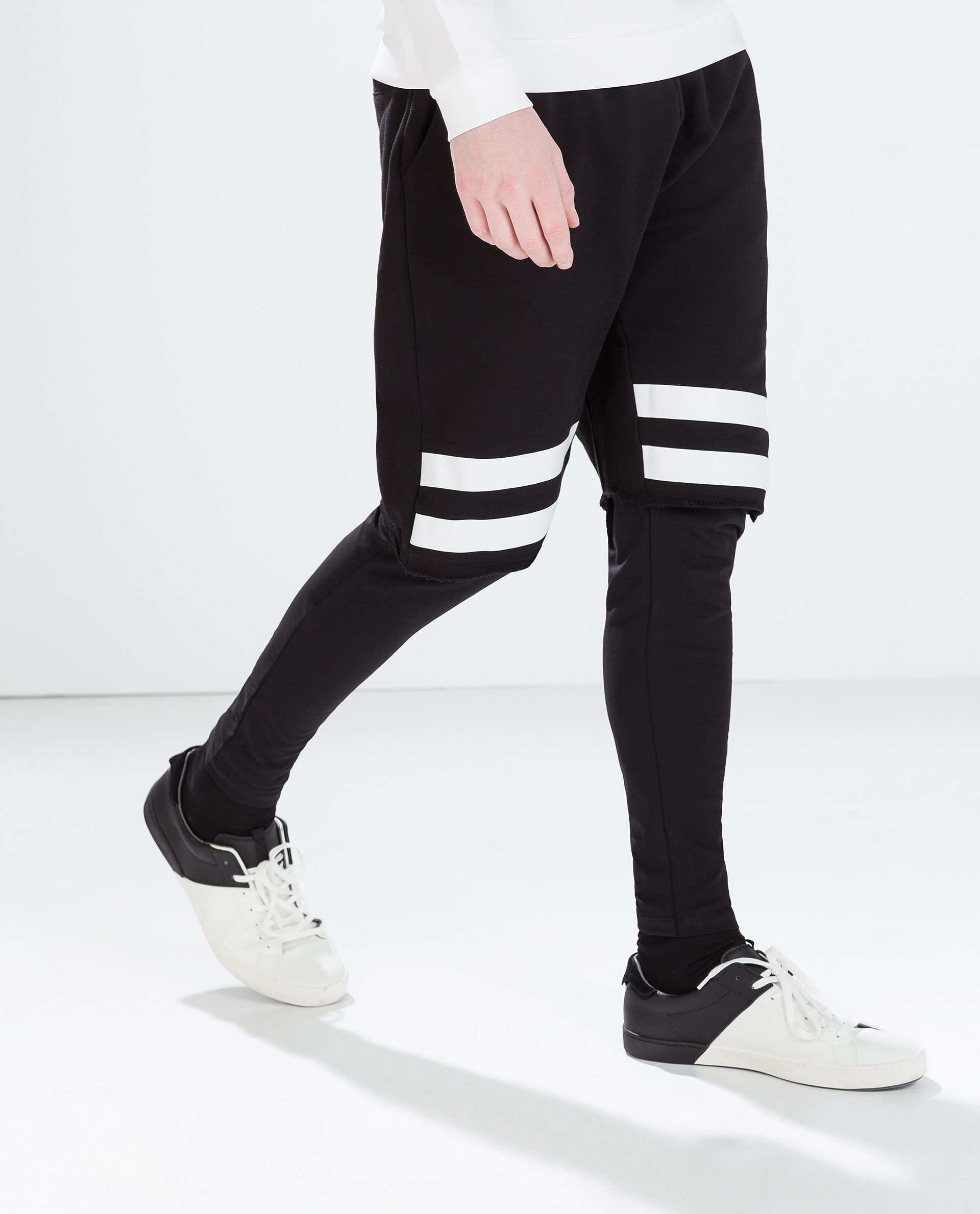 zara striped shorts with leggings in black lyst