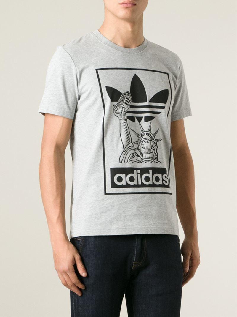 Lyst Adidas Originals Statue Of Liberty T Shirt In Gray